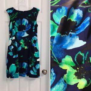 Vince Camuto Release Pleats Fit & Flare Dress Sz 8